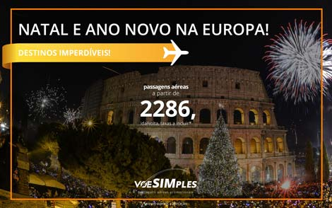 Passagem aérea promocional para o Natal e Ano Novo na Europa