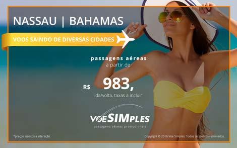 Passagem aérea promocional para as Bahamas