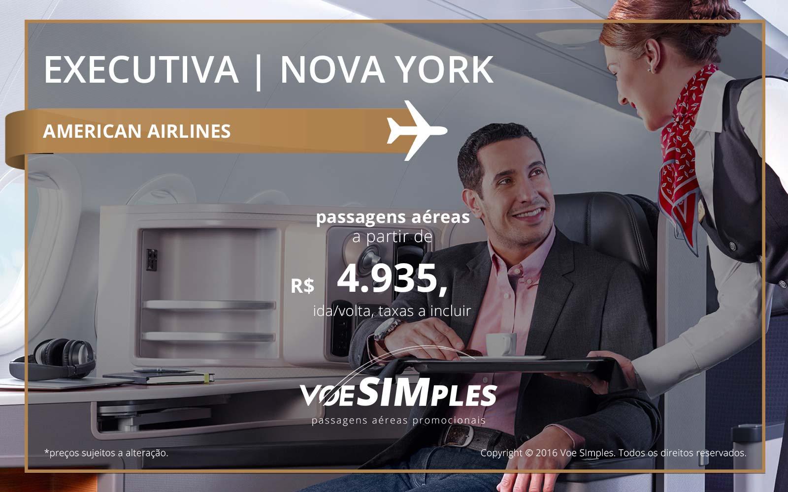 Passagem aérea Classe Executiva American Airlines para Nova York