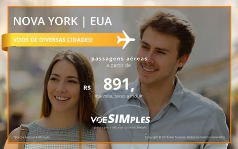 Passagem aérea promocional para Nova York