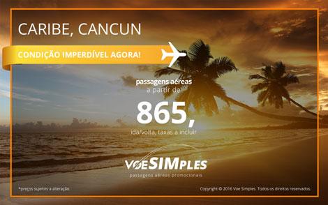 Passagens aéreas promocionais para o Caribe Mexicano
