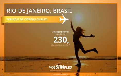 Passagem promocional para Rio de Janeiro no Feriado de Corpus Christi 2016