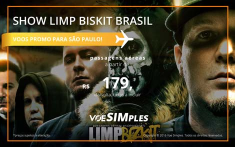 Passagem aérea promocional para o Show do Limp Bizkit