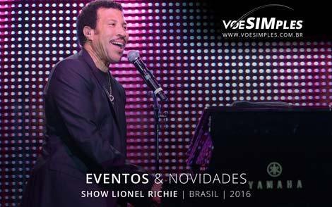 Passagem aérea promocional para Show Lionel Richie Brasil 2016