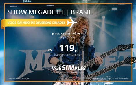 Passagem aérea promocional para o Show do Megadeth no Brasil