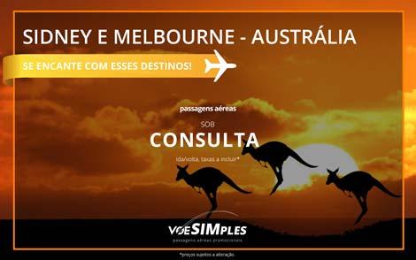 Passagem aérea promocional para a Austrália