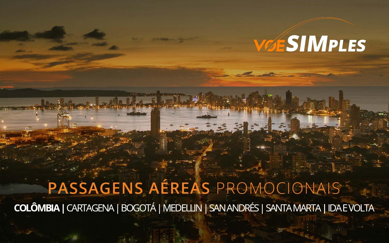 Promoção de passagens aéreas para Bogotá, Cartagena, Medellín, San Andrés e Santa Marta na Colômbia