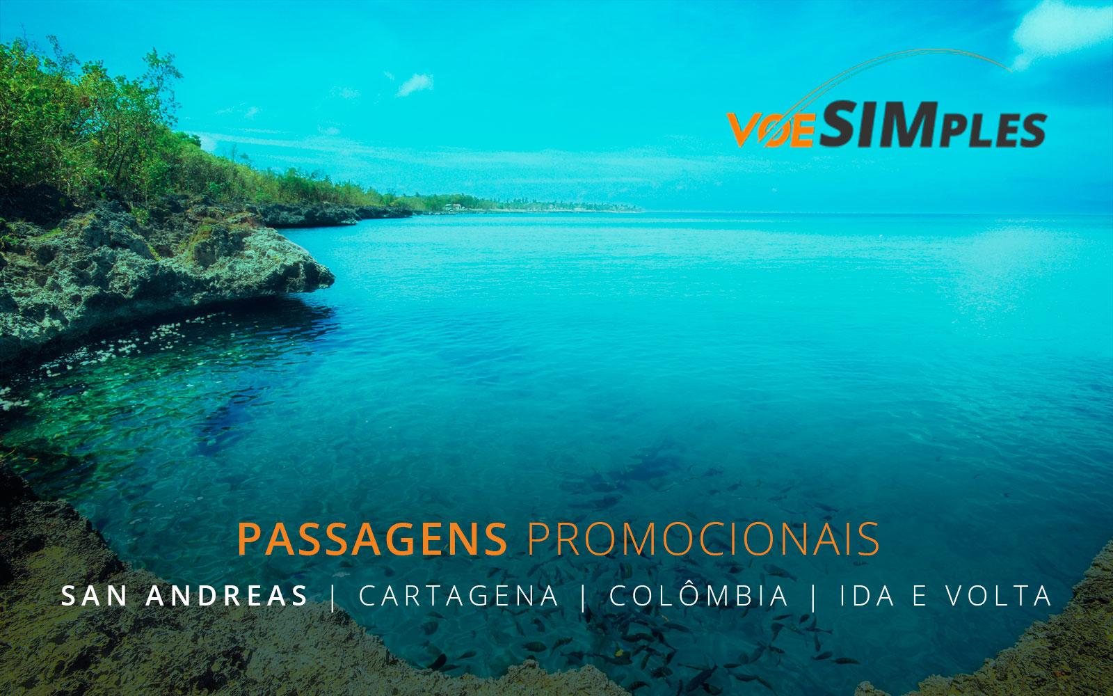 Passagens aéreas promocionais para Cartagena e San Andrés na Colômbia.