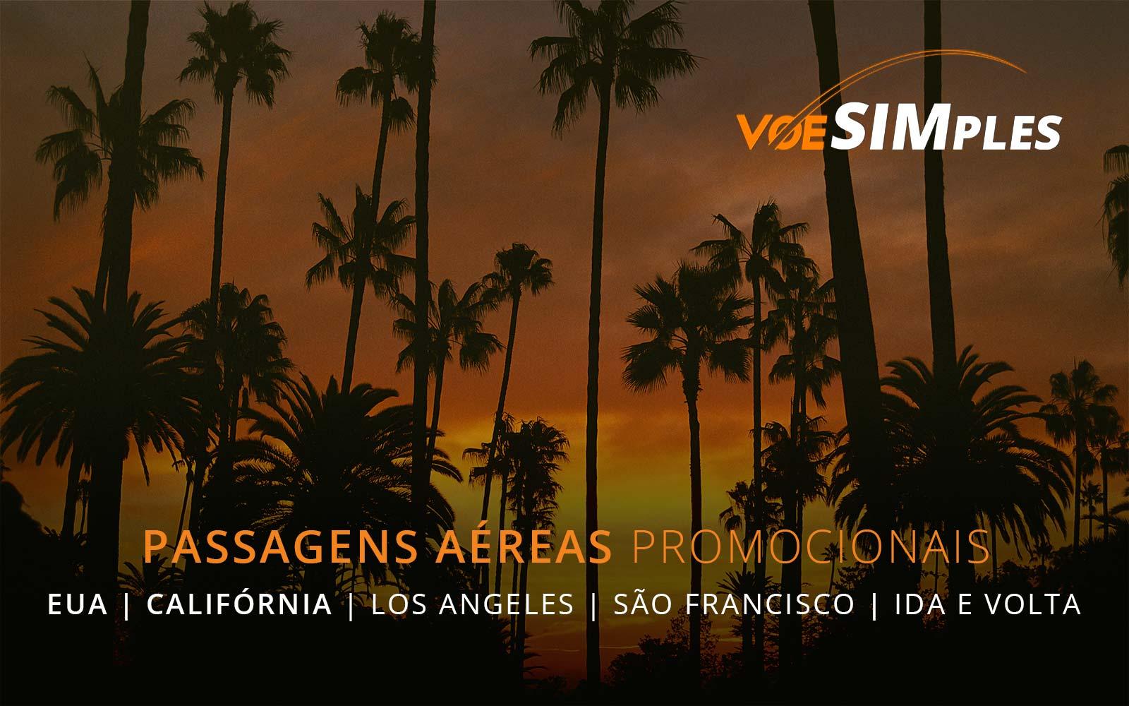 Passagens aéreas promocionais para a California nos Estados Unidos