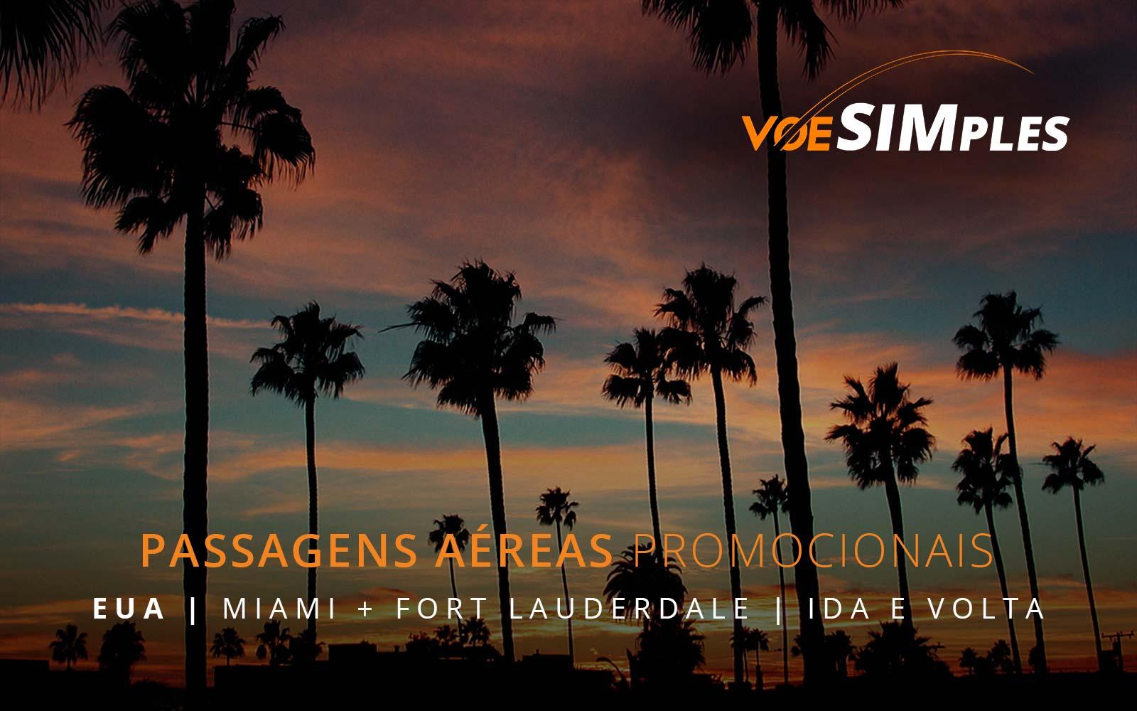 Passagens aéreas promocionais para Miami e Fort Lauderdale nos Estados Unidos