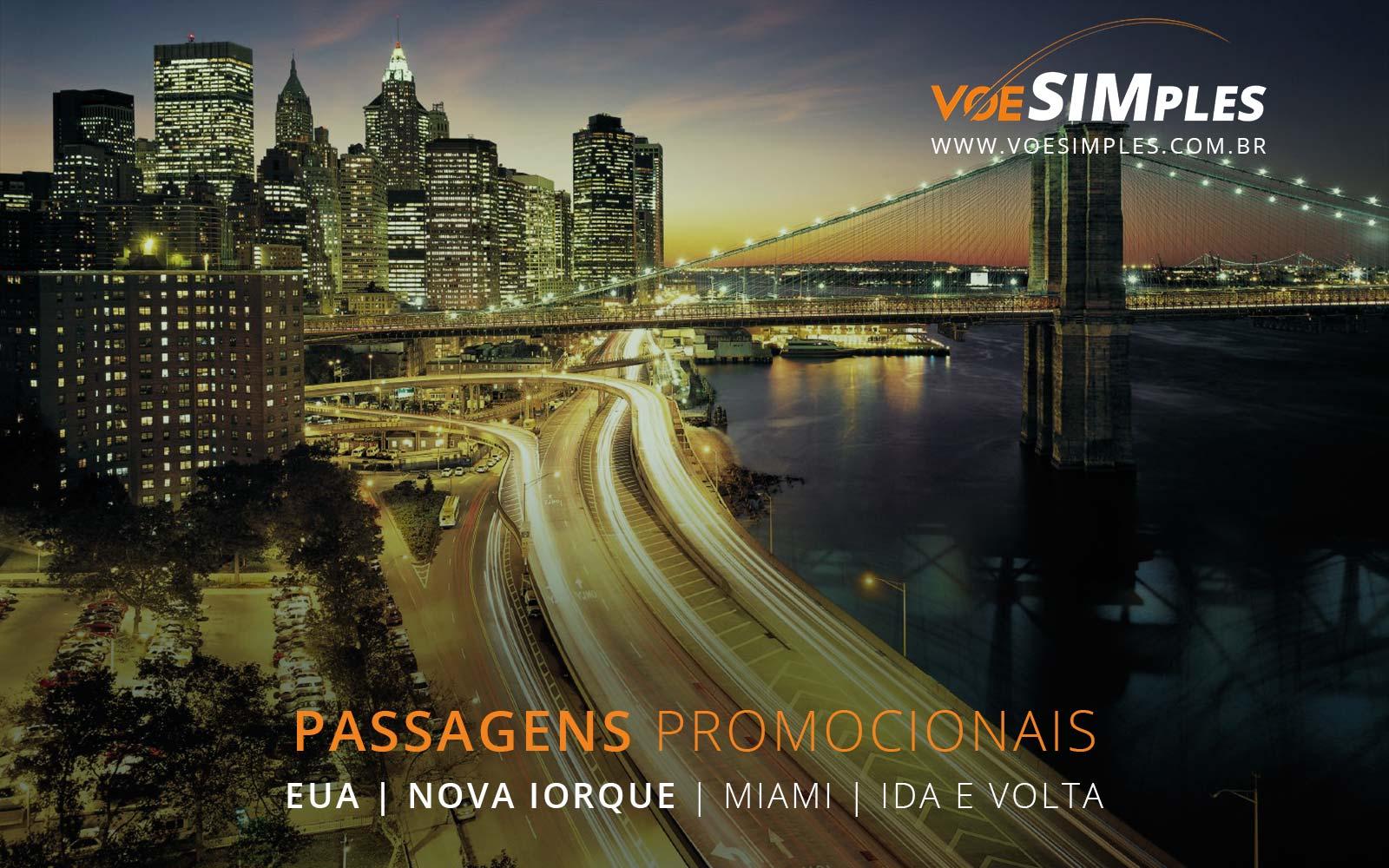 Passagens aéreas baratas para Nova York e Miami nos Estados Unidos